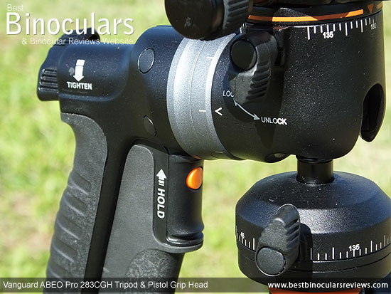 Pan release levers on the Vanguard GH-300T Pistol Grip